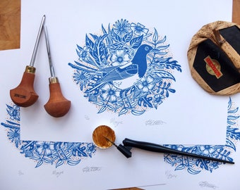 Blue and Gold Magpie with Flowers and Leaves Lino Print