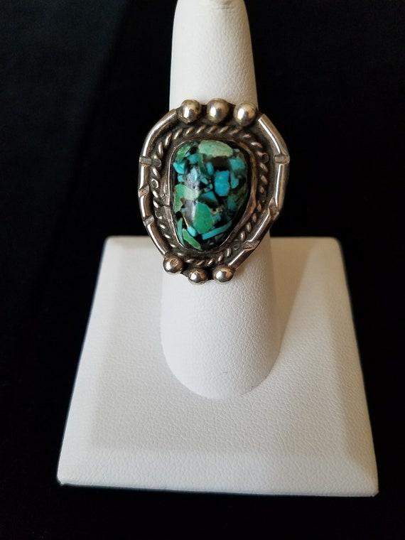 Turquoise Spiderweb Ring
