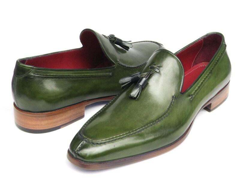 Paul Parkman Men's Tassel Loafer (ID#083-GREEN) Green Leather (ID#083-GREEN) Loafer b53fc6