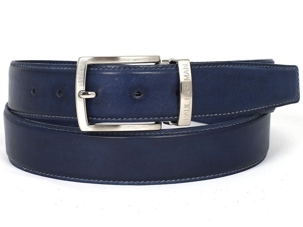 Paul Parkman Men's Leather Belt (ID#B01-NVY) Hand-Painted Navy (ID#B01-NVY) Belt be9357