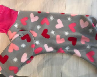 X LG Hearts Fleece Hooded Pajamas Clothes 20% Goes to Crest Care Rescue