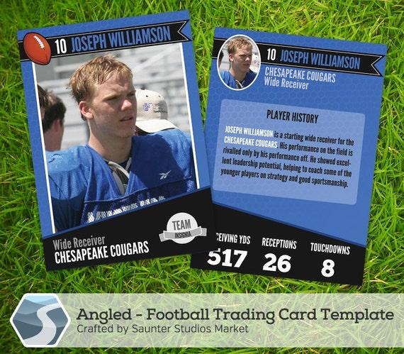angled football trading card 2 5 x 3 5 etsy