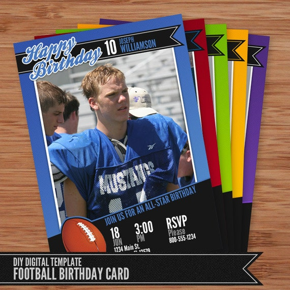 Football Card Birthday Invitation 5x7 Photoshop Template For