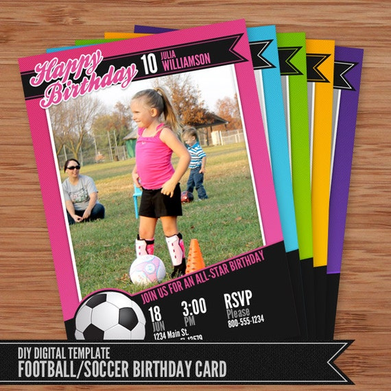 Soccer Card Birthday Invitation 5x7 Photoshop Template For