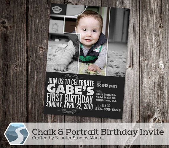 Chalk Portrait 5 X 7 4 6 Birthday Invitation Photoshop