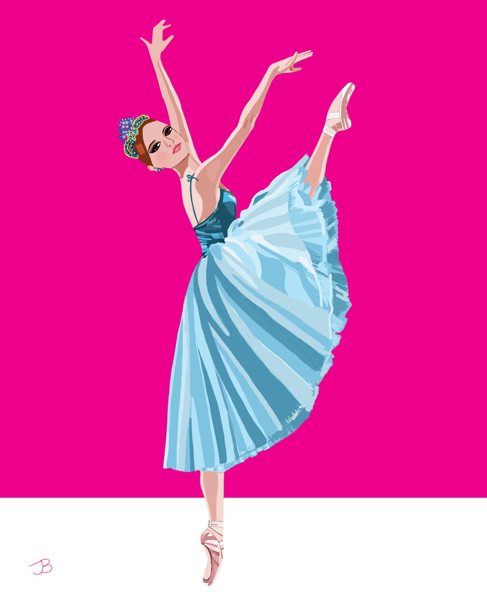 ballet print, blue tutu ballerina, pink ballerina poster, ballerina art, ballet gift, ballet wall decor, gift for baby ballerina