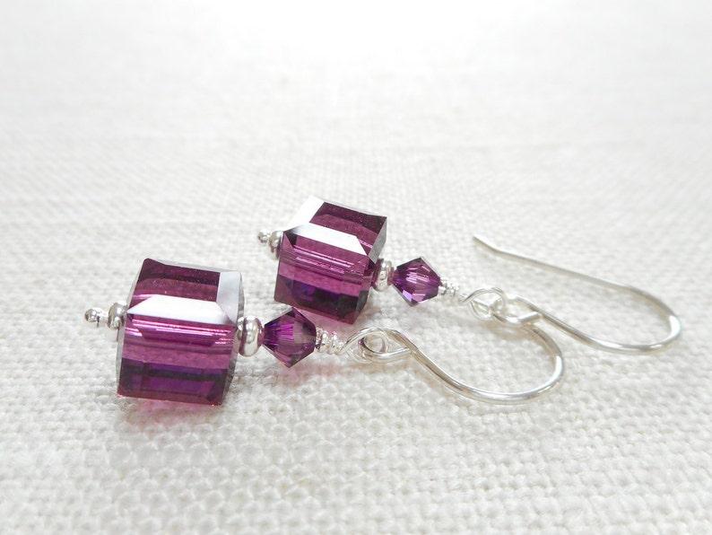 dc6e3cd44fee2 Amethyst Cube Earrings, Purple Swarovski Crystal Jewelry, Dangle Earrings,  Silver Beaded Drop Earrings, February Birthstone Earrings