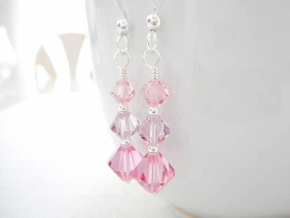 Pink Crystal Earrings Swarovski Crystal Earrings Sterling  45029b27e