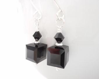 Black Crystal Cube Earrings, Swarovski Crystal Jet Black Cube Jewelry, Dangle Earrings, Silver Beaded Drop Earrings, Jewelry Gift for Her