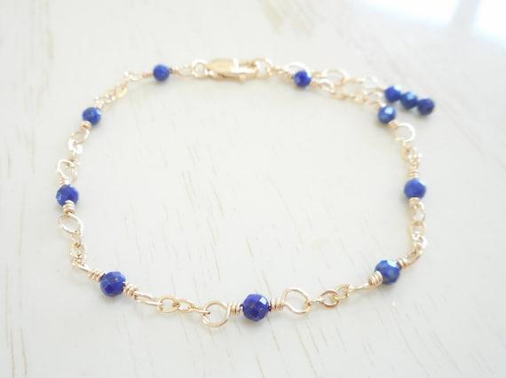 Lapis lazuli bracelet  Lapis bracelet  Dark blue jewelry  Something blue  Gold filled braceletStone bracelet Bridesmaid bracelet Nomia