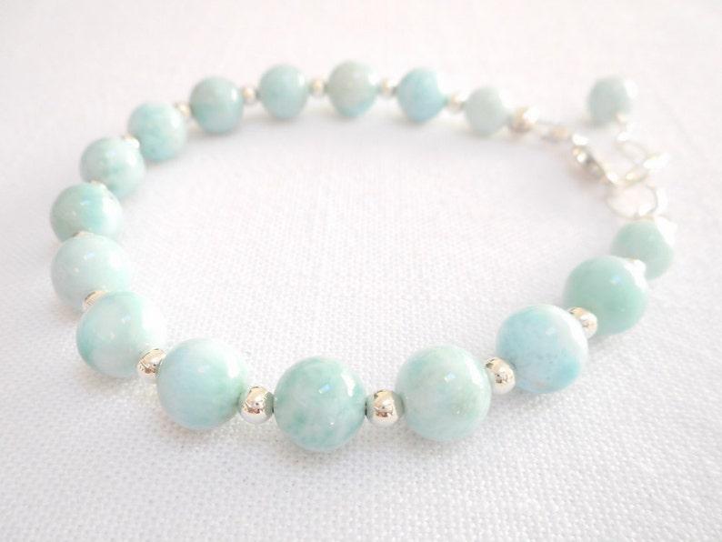 Larimar Jewelry Sky Blue Stone Beaded Bracelet Genuine Gemstone Sterling Silver Jewelry Larimar Bracelet Gemstone Bracelet Gift for Her
