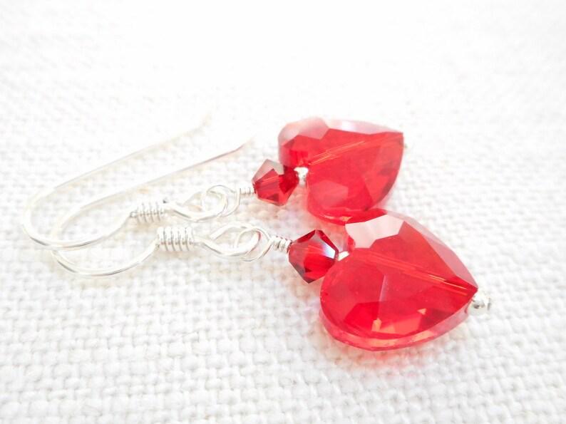 653f3e07bd754 Red Crystal Heart Earrings, Light Siam Swarovski Crystal Jewelry, Sterling  Silver Dangle Earrings, Dainty Earrings, Valentine's Day Jewelry