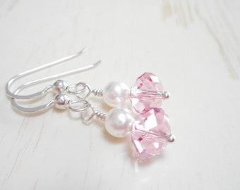 Pink Crystal & White Pearl Earrings, Dainty Swarovski Crystal Earrings, Sterling Silver Jewelry, Small Rose Pink Dangle Earrings
