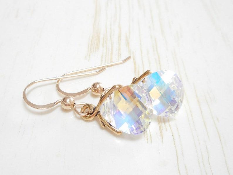 8a69593c4 Gold Briolette Earrings Small Swarovski Crystal Aurora | Etsy