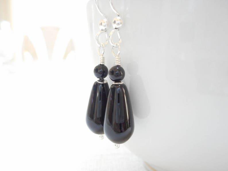 2e991c4ad Black Onyx Teardrop Earrings Sterling Silver Genuine Gemstone   Etsy