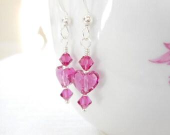 Fuchsia Crystal Heart Earrings, Sterling Silver Swarovski Crystal Jewelry, Pink Dangle Earrings, Valentine's Day Earrings, Gift for Her