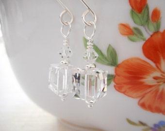 Crystal Cube Earrings, Swarovski Crystal Jewelry, Clear Crystal Earrings, Dangle Earrings, Jewelry Gift for Her, Beaded Drop Earrings