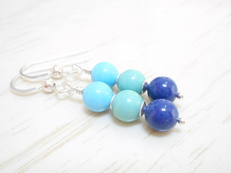 c8635ef98 Ombré Blue Pearl Earrings Sterling Silver Swarovski Crystal | Etsy