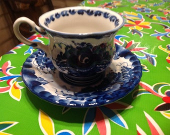 vintage Russian blue porcelain  tea cup and saucerwith floral designs- Wekma, Russia