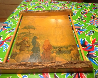 Vintage Our Lady of Fatima image mounted on wood