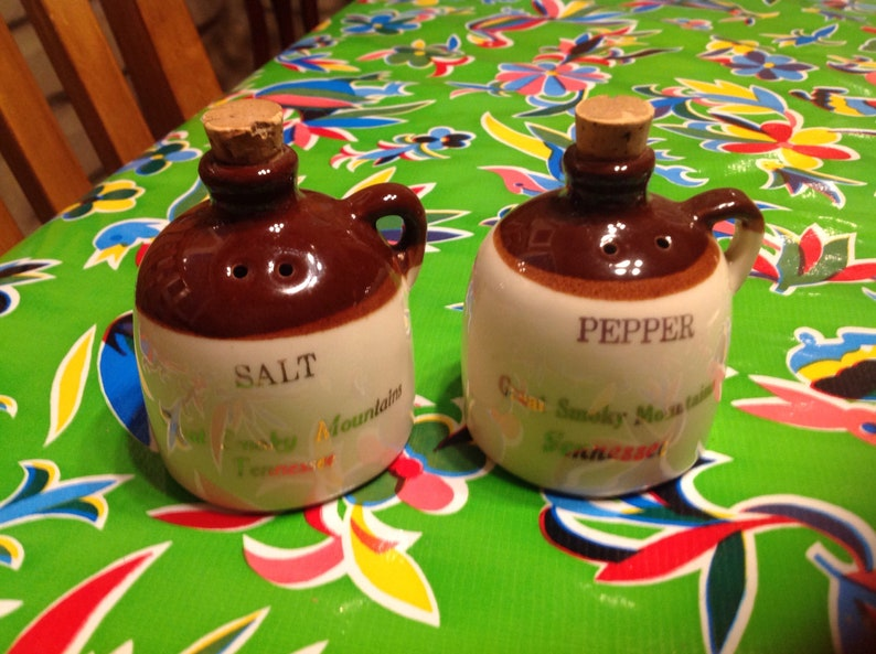 Vintage hand crafted Paden City stoneware moonshine jug  salt and pepper shakers souvenir of the Great Smoky Mountains Tennessee