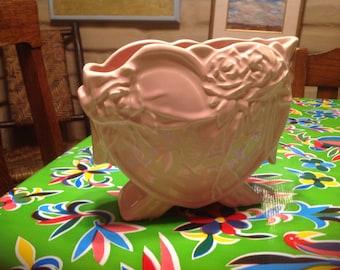 Vintage McCoy heart shaped planter with rose designs