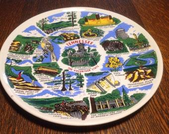 Vintage ceramic souvenir plate- Tennessee, the Volunteer State