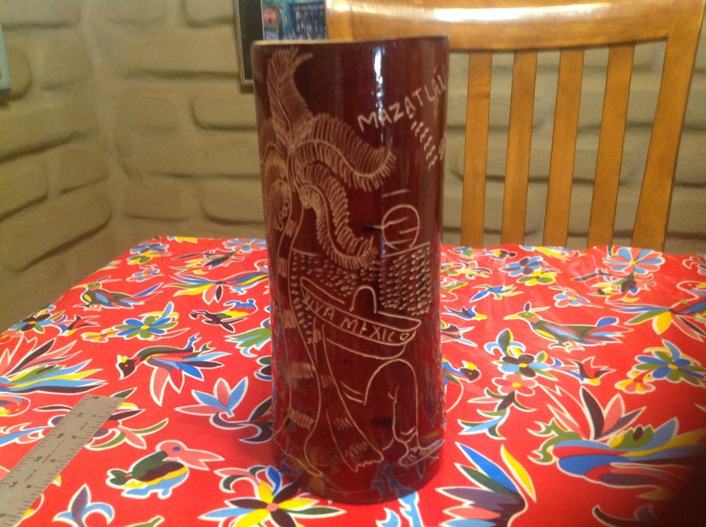 Vintage bamboo hand etched tall beer stein Mexico Sinaloa souvenir of Mazatlan