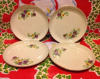 Vintage set of 4 Ridgewood Translucent Chinalight green plates with pansy designs