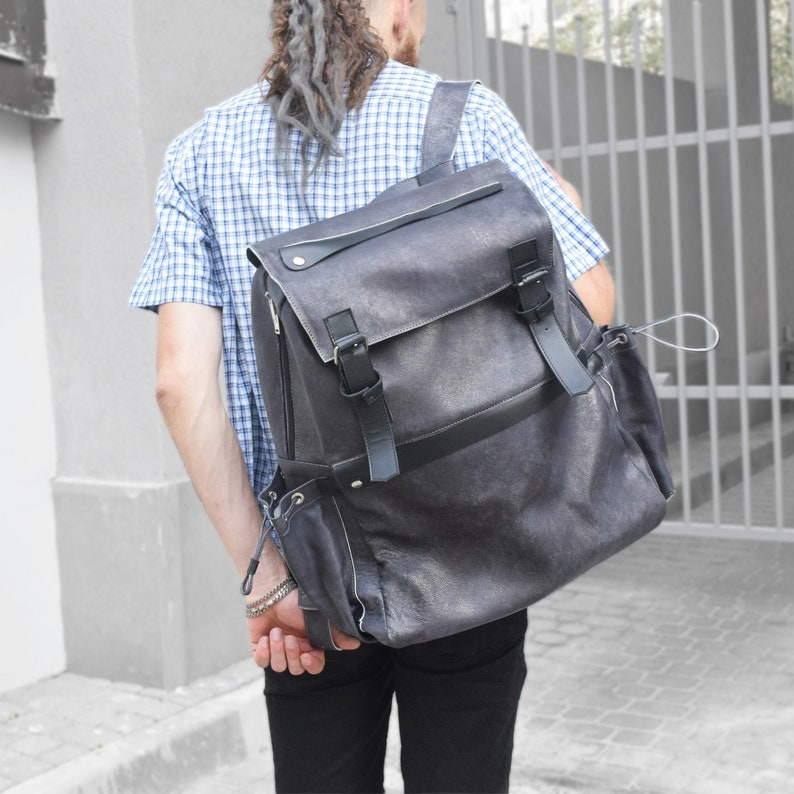 Extra-large travel leather backpack for men and women