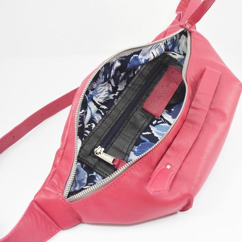 Bright pink goatskin fanny pack for women