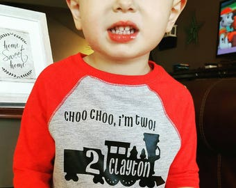 Train Birthday Shirt - Chugga Chugga Two Two - Choo Choo I'm Two - Train Birthday Shirt - Two Year Old Birthday Shirt  2nd Birthday Shirt