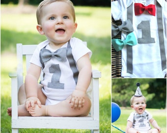 3c851e120ea4 Boys First Birthday Outfit - Personalized First Birthday Boy Outfit - First  Birthday Boy Shirt -1st Birthday Boy Outfit - Bow Tie Suspenders