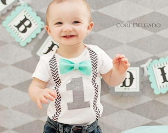 568b024fdc3d Boys First Birthday Outfit - Boys Bow Tie Suspender Cake Smash Boy Outfit - 1st  Birthday Boy Outfit - First Birthday Boy Outfit - Blue Aqua