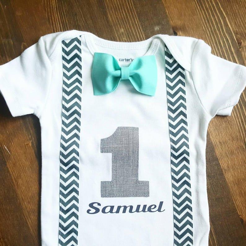 e0b1444951b62 Boys First Birthday Outfit - Baby Boy Clothes - Chevron Birthday Number  Outfit - 1st Birthday Outfit - First Birthday Boy - Blue Birthday