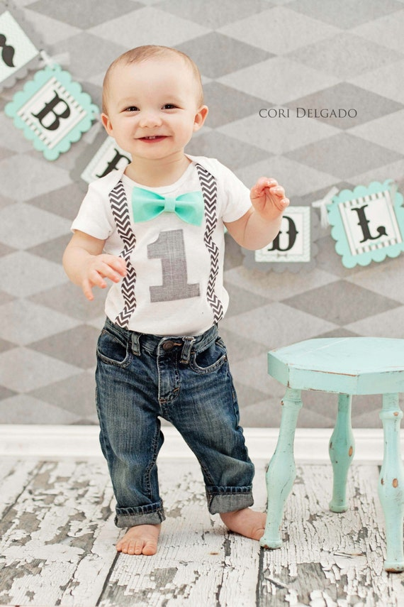 Boys First Birthday Outfit Bow Tie Suspender Cake Smash