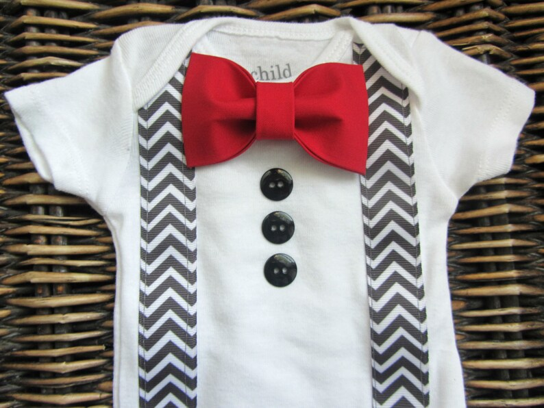 Baby Boy Clothes  Baby Tuxedo Bodysuit  Red Bow Tie Grey image 0