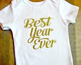 Gold First Birthday  - Girl's First Birthday Shirt - Gold Birthday - Girls 1st Birthday Outfit - First Birthday Girl  Glitter First Birthday