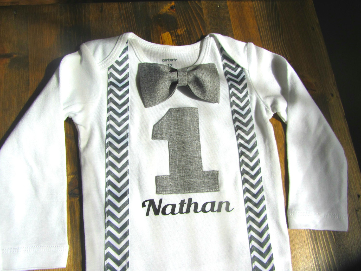 Boys First Birthday Outfit Bow Tie Suspenders 1st