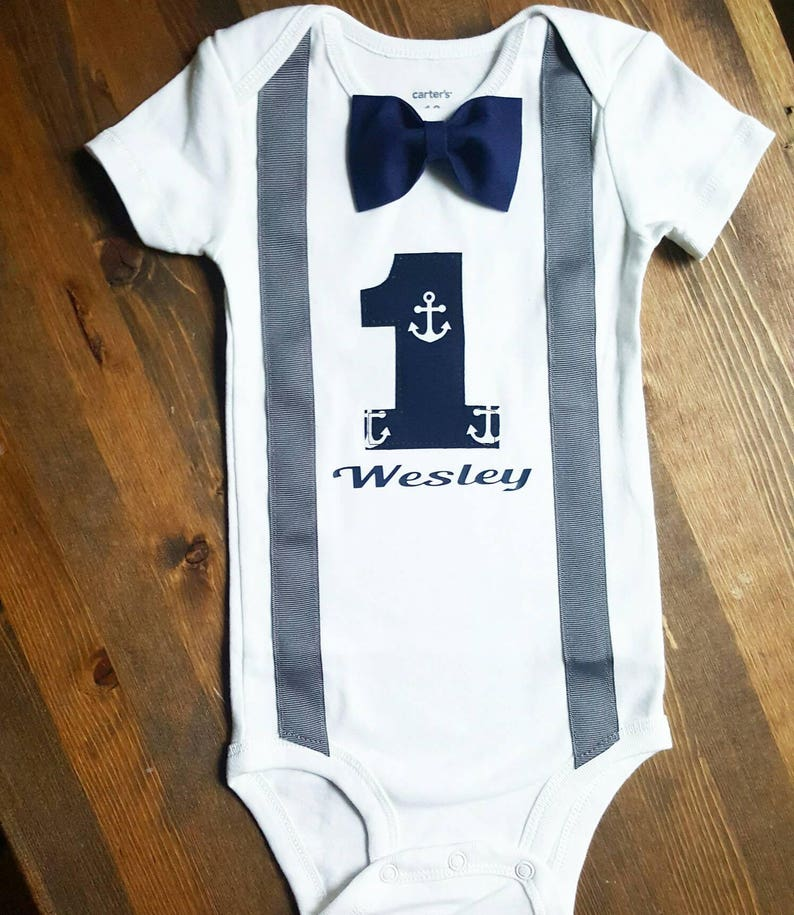 2f03f8fe2 Boys First Birthday Outfit Navy Blue Grey Birthday