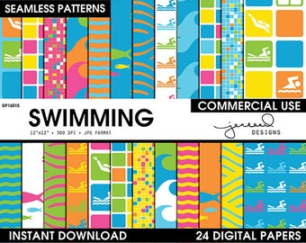 Swimming Digital Papers || Summer Fun Scrapbooking || Pool Theme || Swim || Pink, Blue, Green, Orange, Yellow || Commercial Use || DP16015
