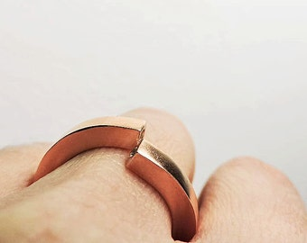 ROSE GOLD filled Sterling Silver Ring with two 2mm cubic zirconia flush setted // Rose Gold // Cubic Zirconia // Geometric Silver Ring