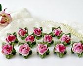 Vintage Dresden Porcelain Rose Place Card Holders - Set of 12 - Vintage Wedding Table Decor - Bridal Shower Party Name Tags