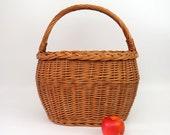 Vintage French Gathering Market Basket Lg Handle Braided Edge Holiday Gift Bent Twig Wicker Flower Girl Wedding Decor Farmhouse Storage