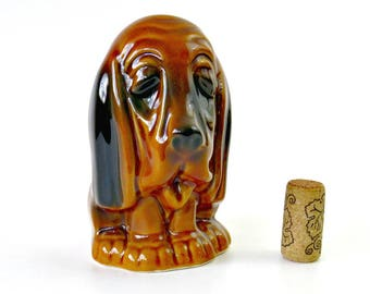 Vintage Ceramic Dog, Black & Brown Glazed Hound Dog Statue Figurine Shelf Sitter, Kitsch Sad Dog Hunting Cabin Decor