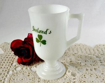 Vintage Milk Glass Mug - Ireland Shamrock Footed Irish Coffee Cup - St Patrick's Day 3 Leaf Clover