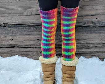 d16e8a143f122 Tie Dye Thigh High Rainbow Socks