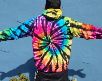 Rainbow w/ Black Spiral ZIP UP Tie Dye Hoodie Sweatshirts