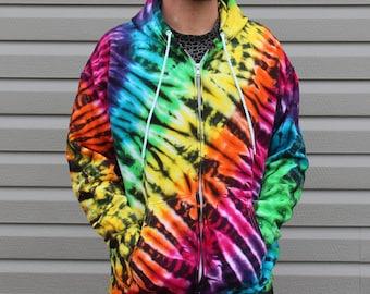 Trippy Tiger Zip Up Tie Dye Hoodie Sweatshirt