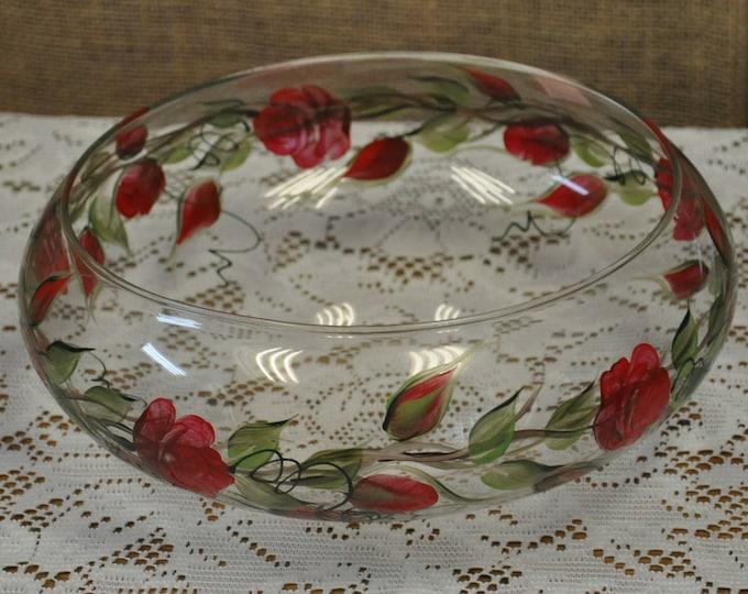 "9.5"" painted glass bowl, Dark red rosebuds"